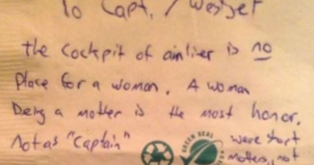 Pilot Responds Brilliantly To Sexist Note Left For Her After Flight