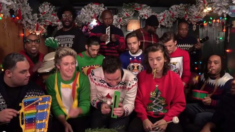 Jimmy Fallon Christmas.Video One Direction And Jimmy Fallon Team Up For Epic