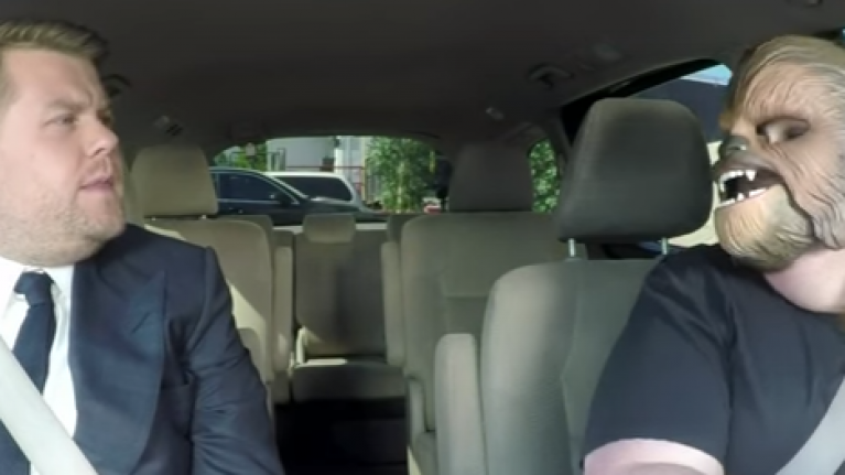 Chewbacca mom strikes again with James Corden and JJ Abrams