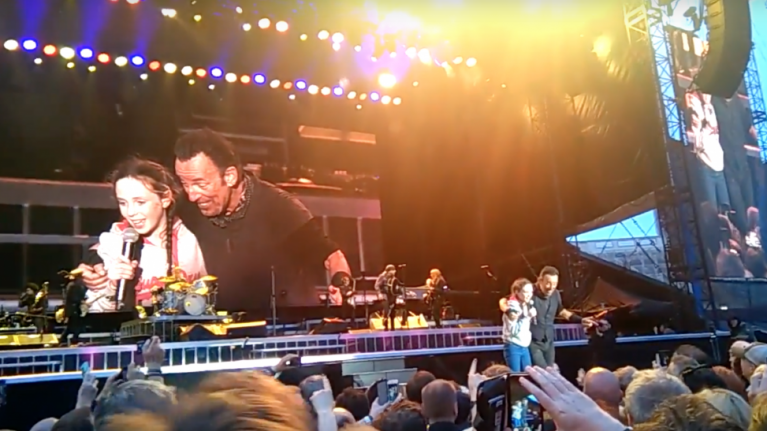 Bruce brought a young fan on stage last night and it was perfect