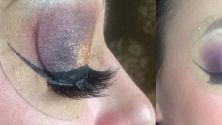 PICS: MUA tries to hide sister's eyepatch... the result is STUNREAL