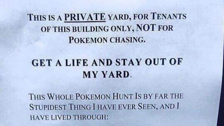 This person's angry house sign speaks for everyone who just doesn't get the Pokémon GO craze
