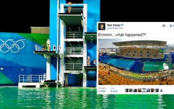 Olympic officials explain why the diving pool turned green last night