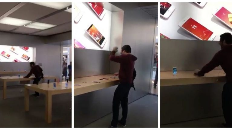 Furious man walks into an Apple store and smashes every iPhone in sight