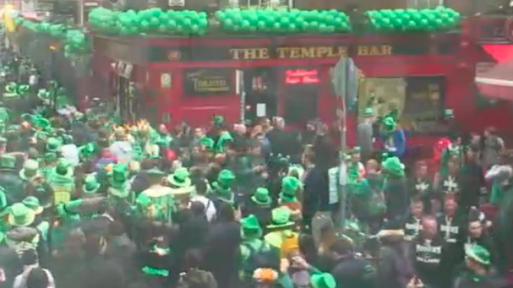 PICS: Temple Bar Is Packed Right Now With A Sea Of Green