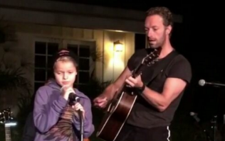 Gwyneth Paltrow's children joined dad Chris Martin onstage and they all sang their hearts out