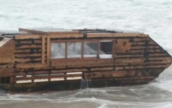 So a  houseboat has washed up on a Mayo beach