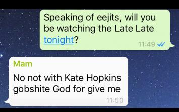 Irish Family WhatsApp Group - Christmas Puddings, Trump and The Late Late
