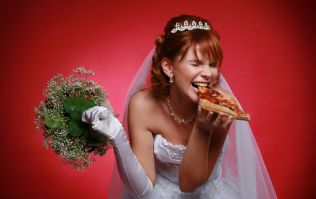 This couple served a four-tier pizza instead of cake at their wedding