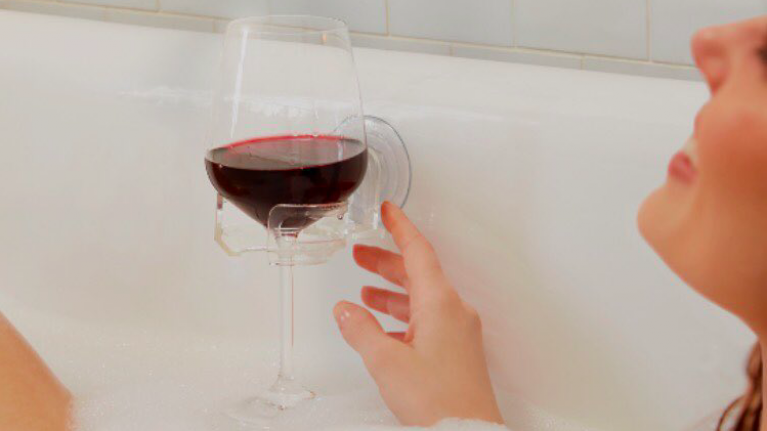 This invention helps you casually drink wine in the bath and we NEED it