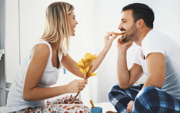 Thieving food from a partner might actually be a VERY good sign