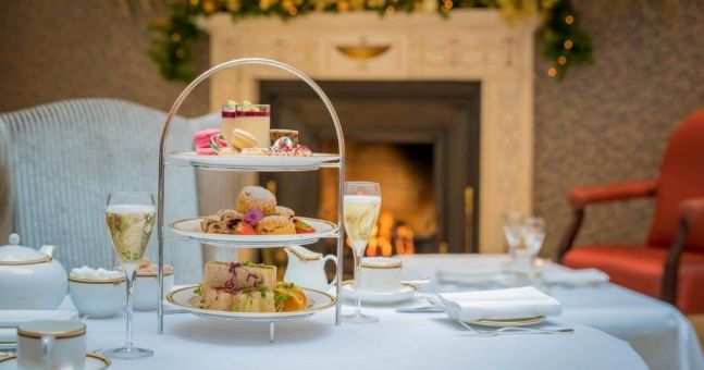 This swanky Dublin hotel offers a festive champagne afternoon tea