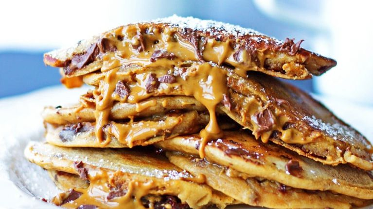 Cookie dough stuffed pancakes are the Sunday morning breakfast of dreams
