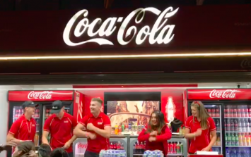 These Coca-Cola workers performed a dance during the Bruno Mars concert and it was class