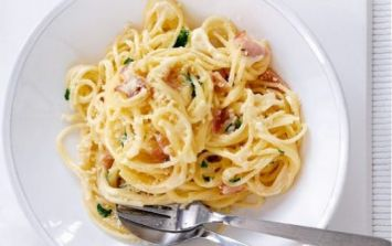 This low fat spaghetti carbonara recipe is actually beyond delicious
