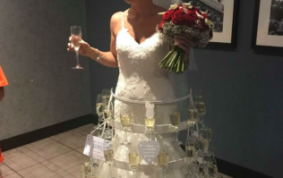 This bride had a wedding dress made out of PROSECCO and we're in awe