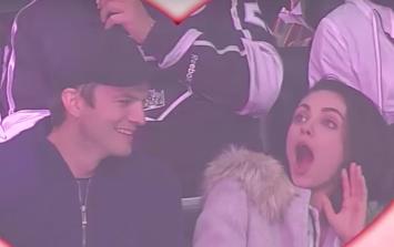 Kiss Cam surprises Ashton Kutcher and Mila Kunis and it's adorable
