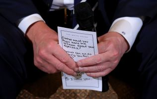 Trump needed prompt cards to remind himself to say 'I hear you' to shooting survivors