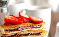 These easy-to-make Nutella-stuffed pancakes are brunch goals