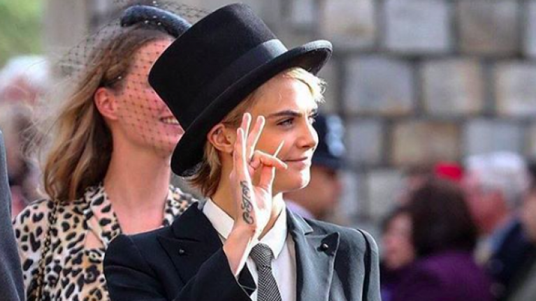 Cara Delevingne BROKE the dress code by wearing this to Princess Eugenie s  wedding 0a9098991444