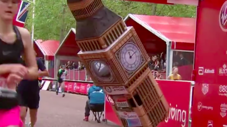 Big Ben struggled to cross the finish line at today's London Marathon
