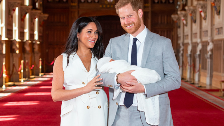 The three words Prince Harry said to Meghan before Archie's photocall