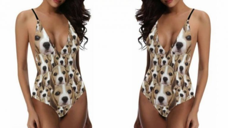 You can now get a swimsuit with your dog's face all over it