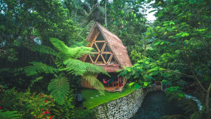 There's a Bali bamboo Airbnb on the side of a volcano and yeah, we'll be staying here, cheers
