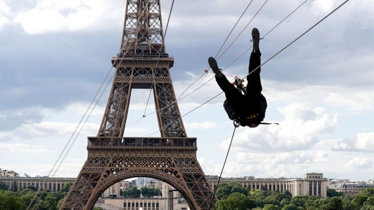 You are now able to zipline for free out of the Eiffel Tower