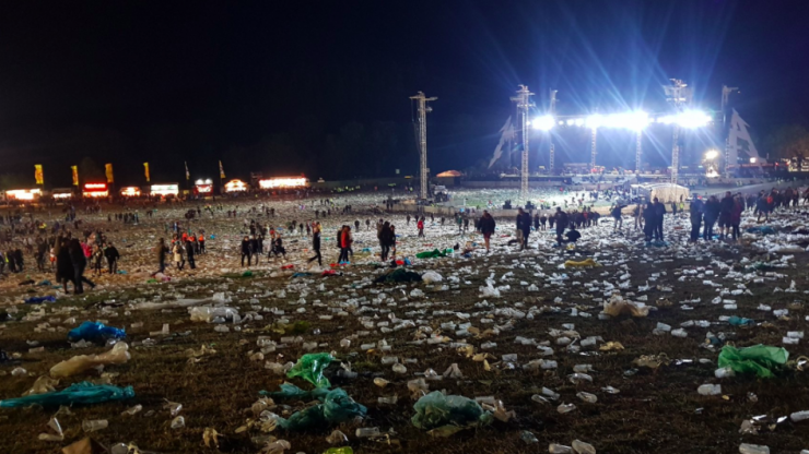 Shocking images show the amount of plastic left at Slane over the weekend