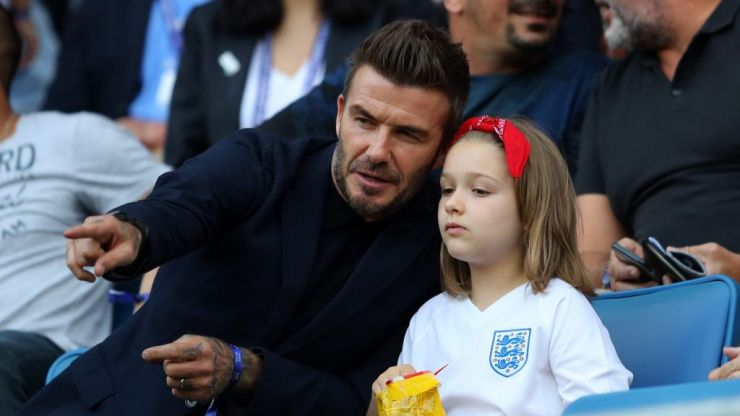 David Beckham shares adorable photos as he and Harper cheer on England women's football team