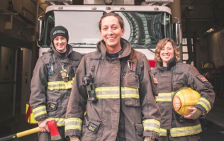 Female firefighters show four-year-old girl women can tackle blazes too