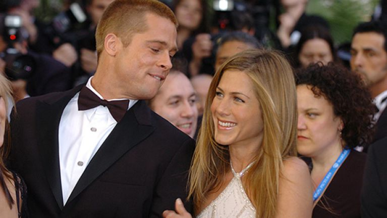 Brad Pitt attended Jennifer Aniston's 50th birthday party last night