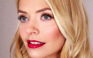 Holly Willoughby's red velvet dress is from Oasis and hello, Christmas Day outfit