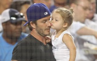 So Adorable! David Beckham Spotted With Harper At LA Hockey Game