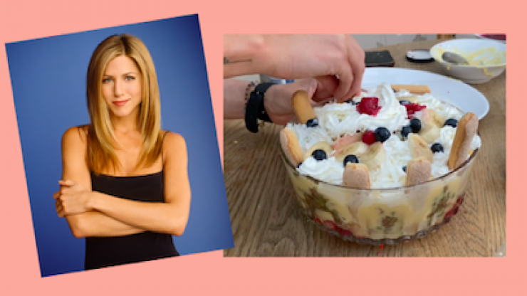 """Custard, jam, and beef sautéed with peas and onions."" We did a taste test on Rachel's Thanksgiving trifle from Friends"
