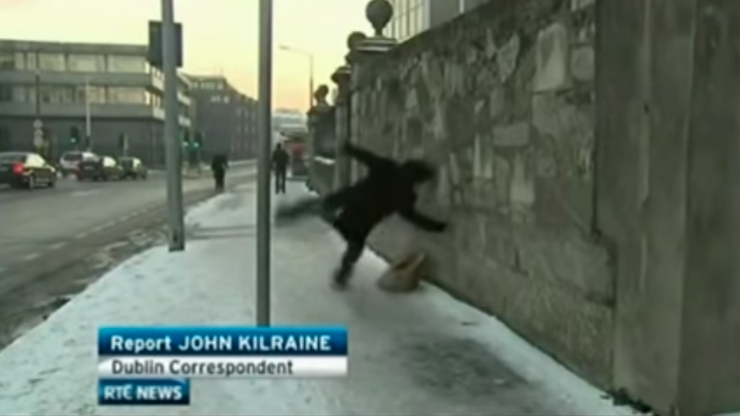 A plaque was erected in Dublin to honour 'the guy who slipped on the ice' 10 years ago