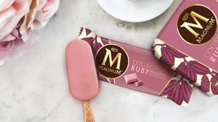 Tickled pink! Magnum has just released a ruby chocolate covered ice cream
