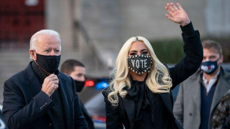 Lady Gaga stuns at Biden rally in sky-high platform boots
