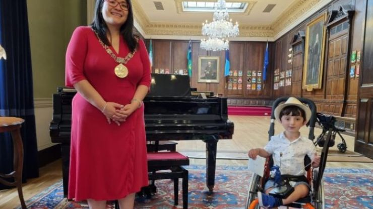 Hazel Chu awards Adam King with the Lord Mayor Youth Award