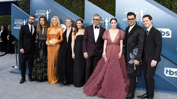 Cast members of Schitt's Creek reunite for Sarah Levy's wedding
