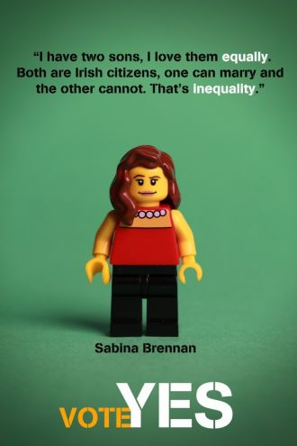 """""""If you vote no you will be endorsing inequality. A no vote will send a message to our government, to the world, to our children and to our children's children that we think that it is ok to treat one Irish citizen differently to another Irish citizen, to treat one human being different to another human being, to treat one family member differently to another family member."""""""