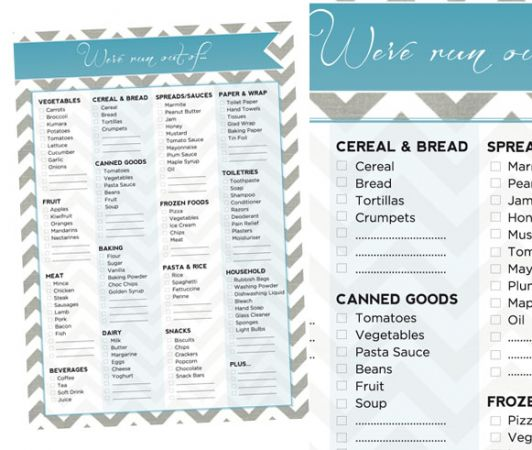 Plan before you buy with a weekly shopping list at novemberpeonies.blogspot.co.nz