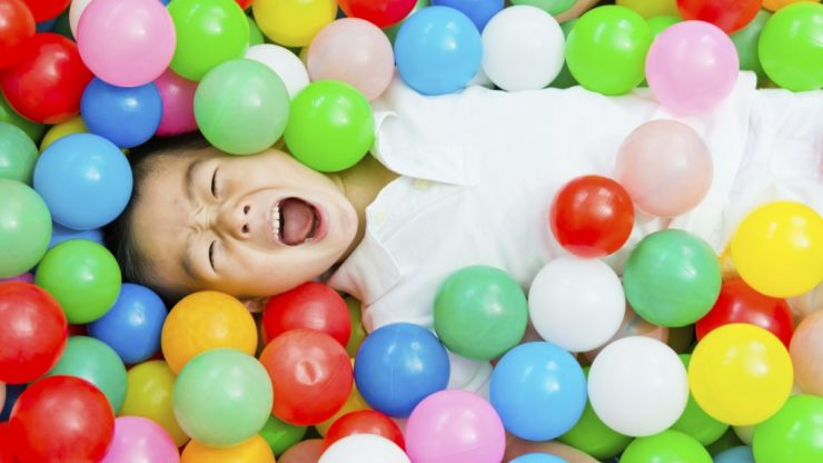 Another way your child can use those 'ball pit' balls that are all over the house