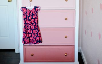 Easy DIY project: Turn a boring old chest-of-drawers into this ombre beauty