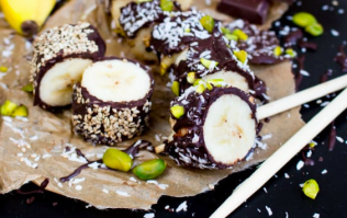 The kids will love making these chocolate-covered banana bits with you