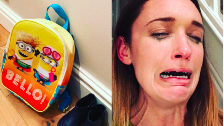 This mum's reaction to leaving her child with the childminder is so relatable