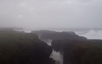 Hook Head in Wexford took a battering from Storm Brian this morning