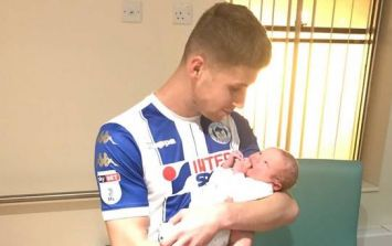 Soccer star leaves at half-time and arrives just in time for birth of his son