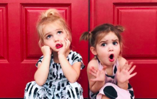 How CUTE are these twin sisters dressed up as Elf on the Shelf